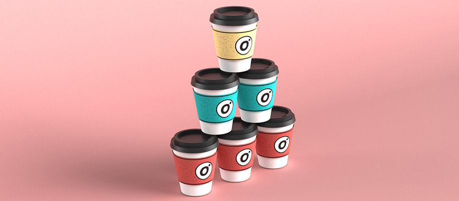 Coffee cups with outlier creative logo